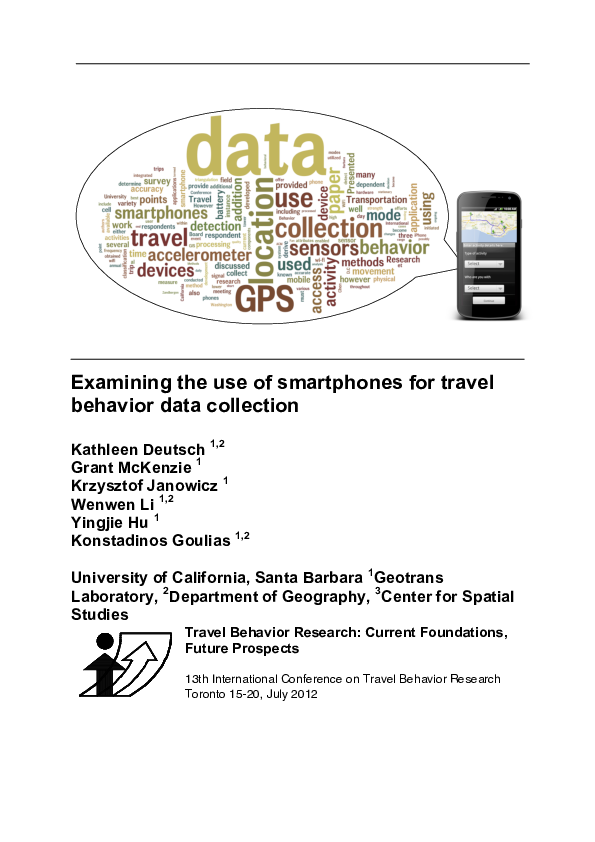 PDF) Examining the use of smartphones for travel behavior data