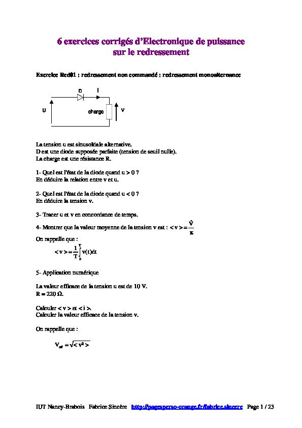 Pdf 6 Exercices Corriges D Electronique De Puissance Sur Le Redressement Zyon Namilsneb Academia Edu