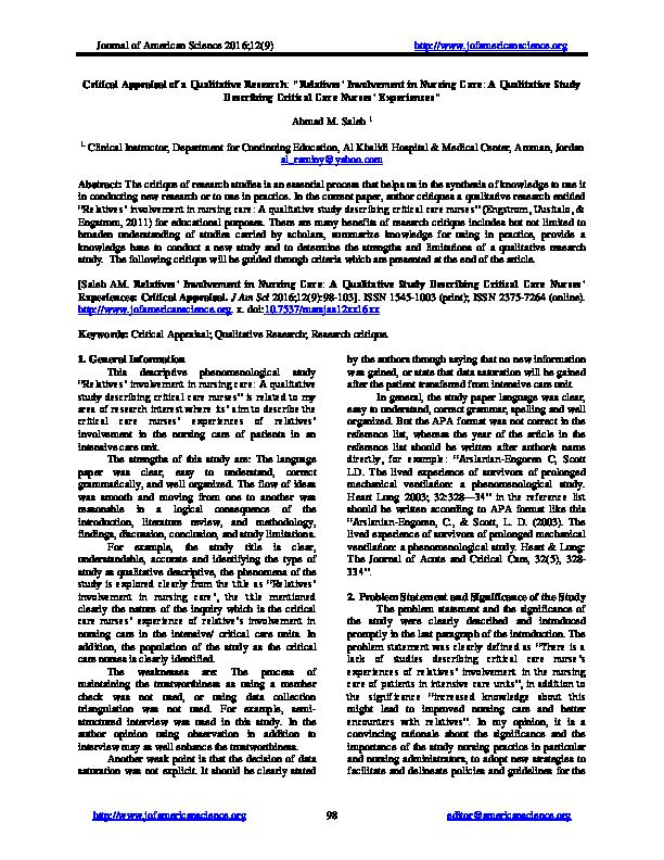 PDF) Critical Appraisal of a Qualitative Research: