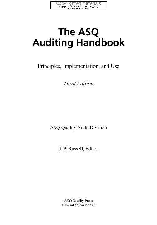 PDF) The ASQ Auditing Handbook | Bagus Krisviandik