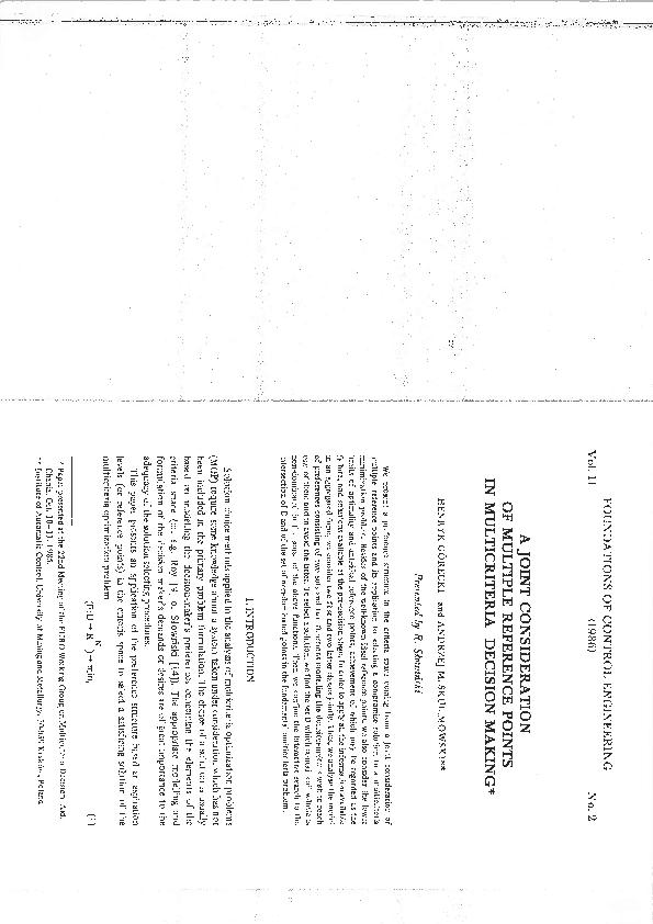 PDF) H  Górecki, A M  Skulimowski: A joint considaration of
