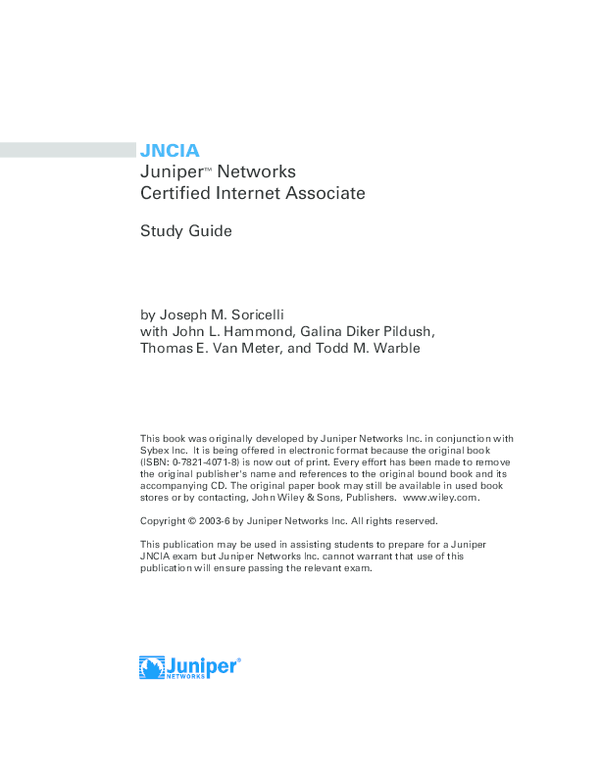 PDF) JNCIA Juniper ™ Networks Certified Internet Associate Study