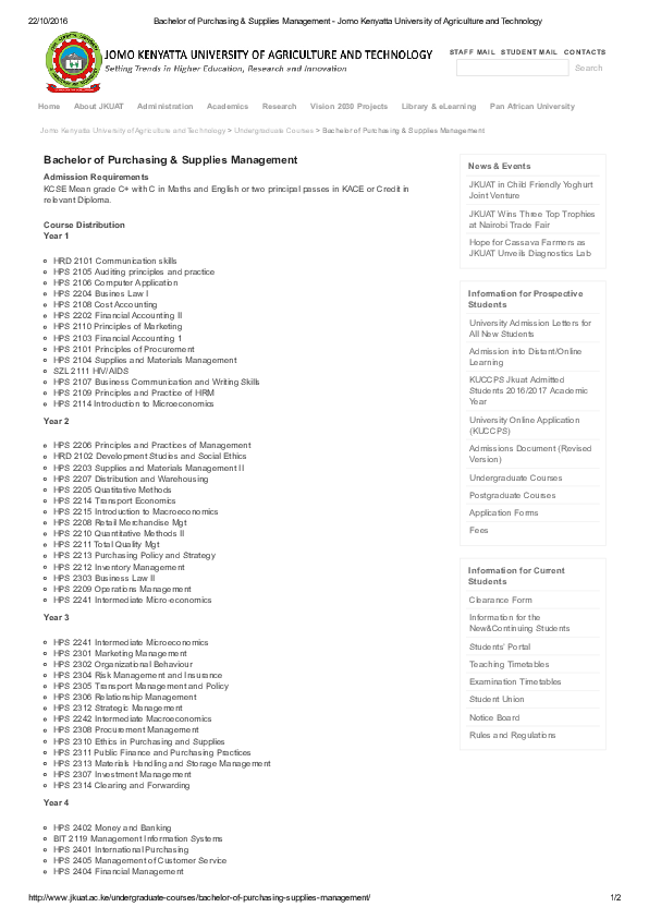 PDF) Bachelor of Purchasing Supplies Management Jomo