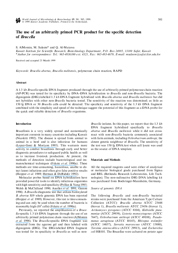 PDF) The use of an arbitrarily primed PCR product for the