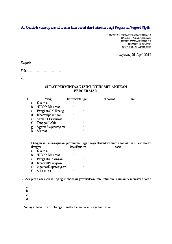 Doc A Contoh Surat Permohonan Izin Cerai Dari Atasan Bagi