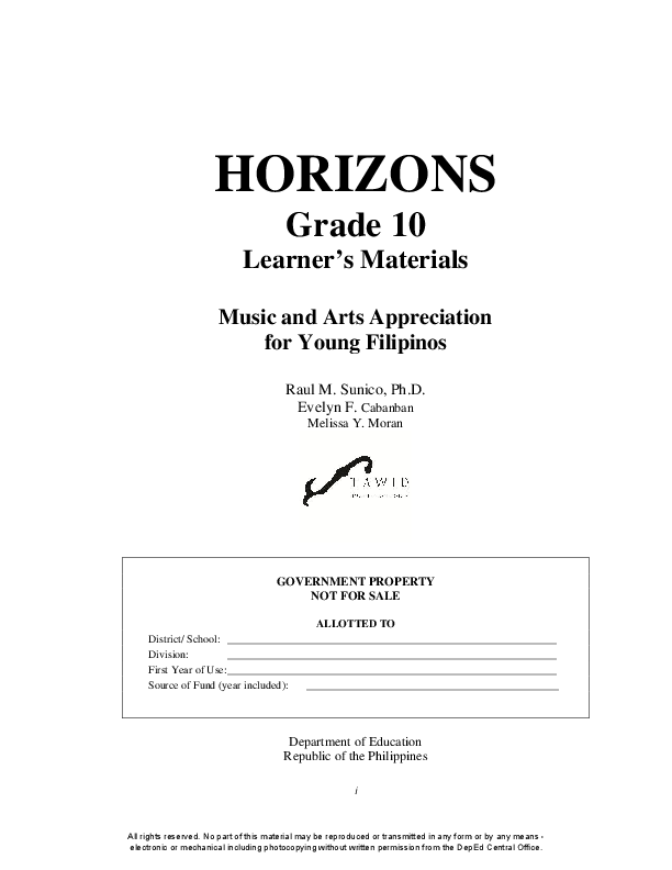 PDF) HORIZONS Grade 10 Learner's Materials Music and Arts