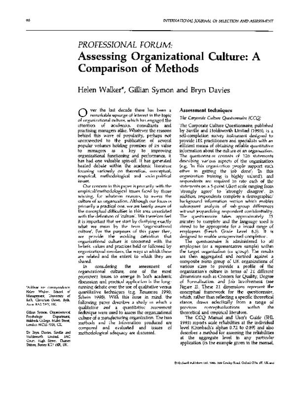 PDF) PROFESSIONAL FORUM: : Assessing Organizational Culture: A