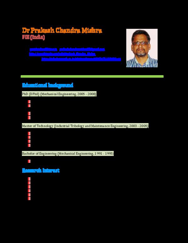 PDF) UPDATED CV_PRAKASH_MISHRA | Prakash chandra Mishra