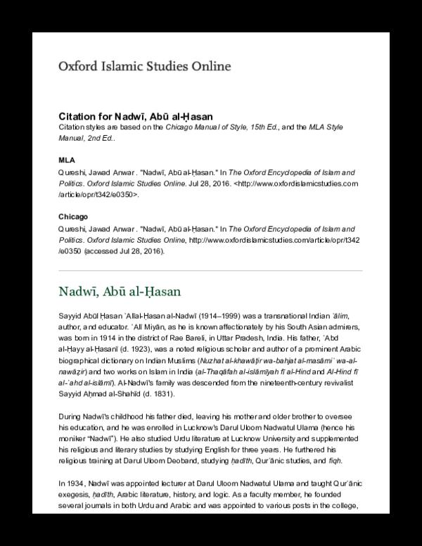 PDF) Nadwī, Abū al-Ḥasan (Oxford Encyclopedia of Islam and Politics