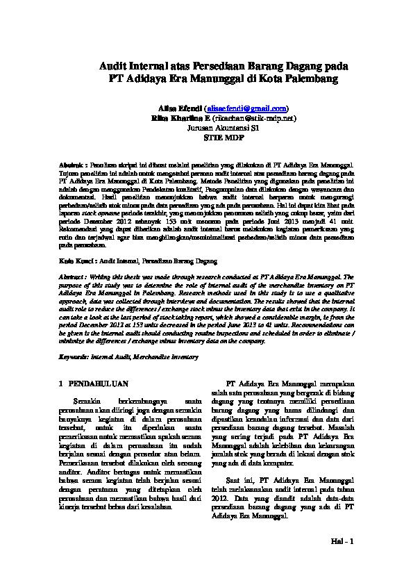 Pdf Audit Internal Atas Persediaan Barang Dagang Pada Pt Adidaya Era Manunggal Di Kota Palembang Junaedi Dragon Academia Edu