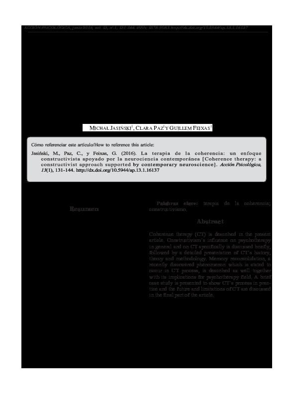 Pdf La Terapia De La Coherencia Un Enfoque Constructivista Apoyado Por La Neurociencia Contemporanea Coherence Therapy A Constructivist Approach Supported By Contemporary Neuroscience Clara Paz And Guillem Feixas Academia Edu