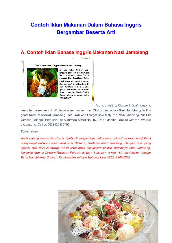 Doc Contoh Iklan Makanan Dalam Bahasa Inggris Bergambar Beserta