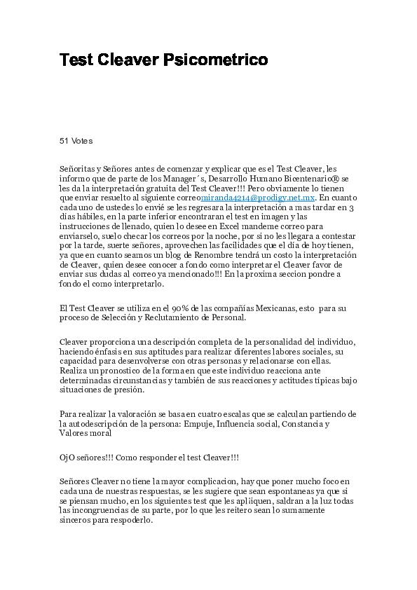 Doc Test Cleaver Psicometrico Valeria Reyes Academia Edu