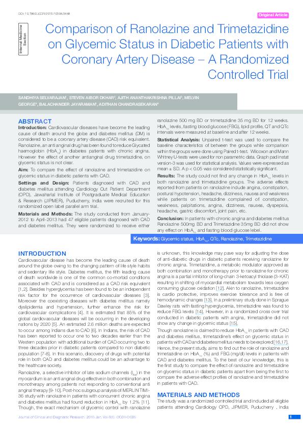 PDF) Comparison of ranolazine and trimetazidine on glycemic