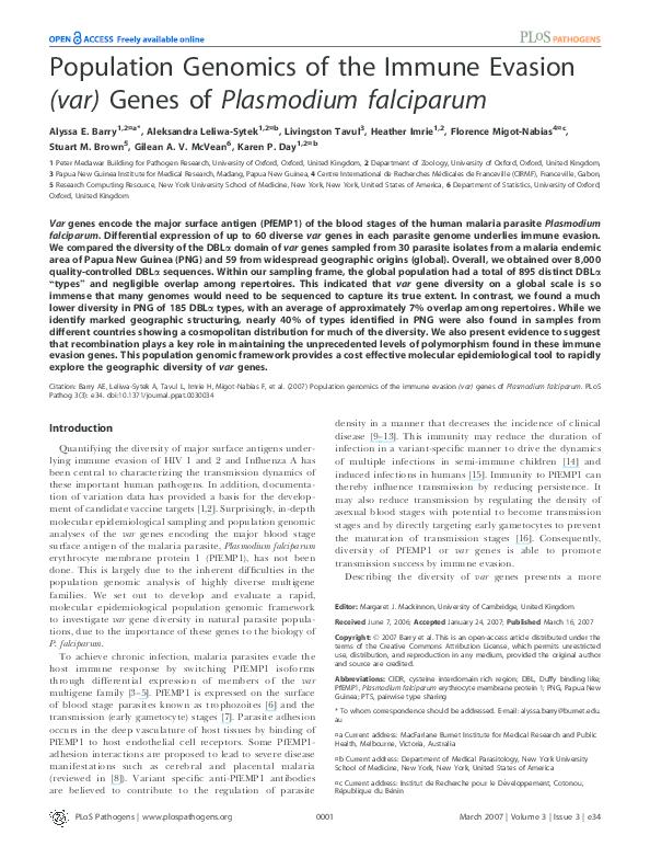 PDF) Population Genomics of the Immune Evasion (var) Genes