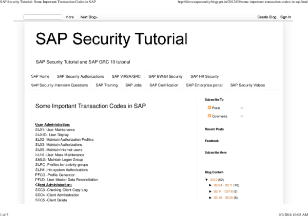 PDF) SAP Security Tutorial Some Important Transaction Codes in SAP