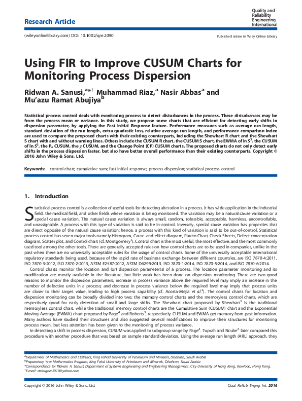 Using FIR to Improve CUSUM Charts for Monitoring Process