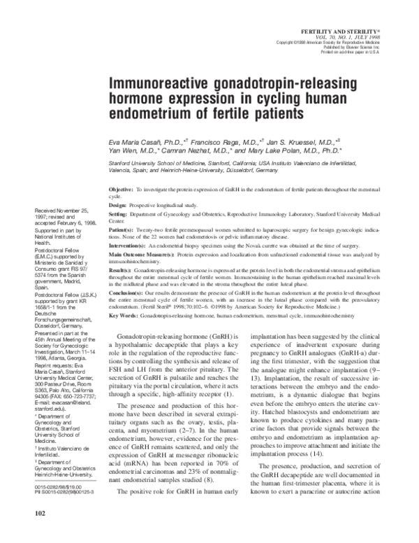 PDF) Immunoreactive Gonadotropin-Releasing Hormone (GnRH) Is