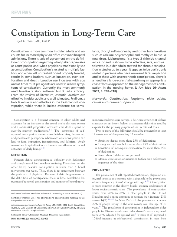 PDF) Constipation in Long-Term Care | Syed Tariq - Academia edu