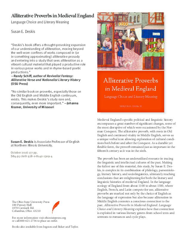 PDF) Alliterative Proverbs in Medieval England | Susan Deskis