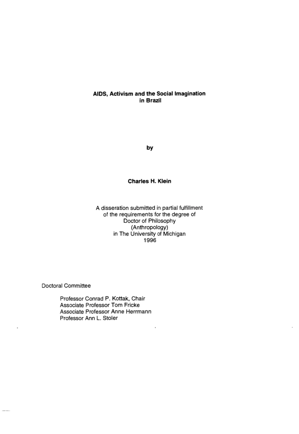 PDF) AIDS, activism and the social imagination in Brazil