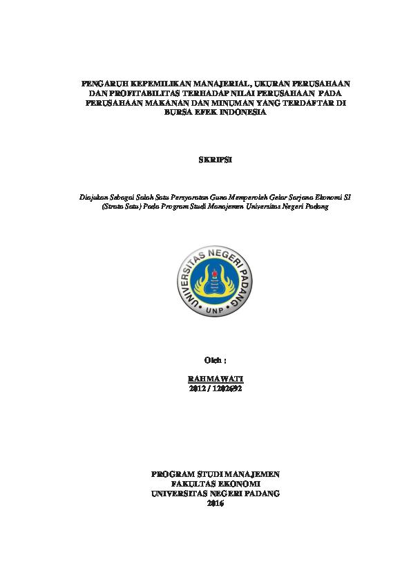 Pdf Skripsi Nilai Perusahaan Pdf Rachma Wathie Academia Edu