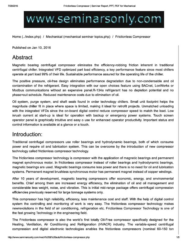 PDF) Frictionless Compressor   Seminar Report, PPT, PDF for