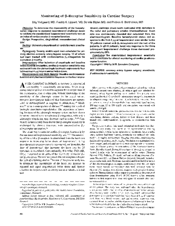 PDF) Monitoring of β-receptor sensitivity in cardiac surgery