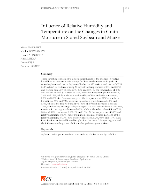 Influence Of Relative Humidity And Temperature On Changes In Grain Moisture D Wheat Sunflower