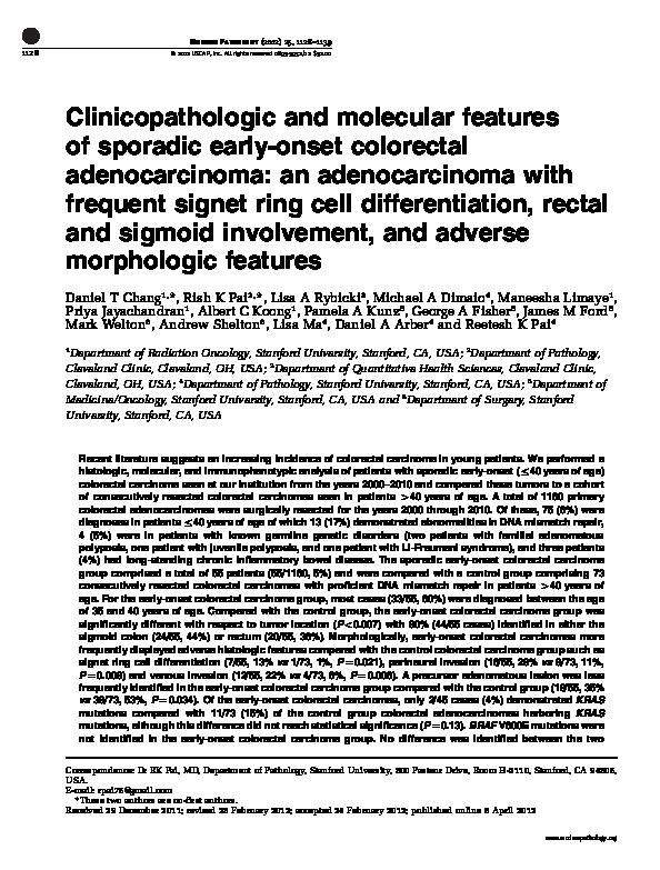 PDF) Clinicopathologic and molecular features of sporadic early