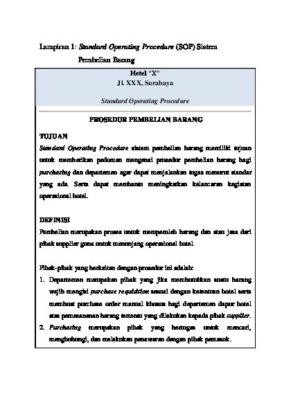 Pdf Lampiran 1 Standard Operating Procedure Sop Sistem