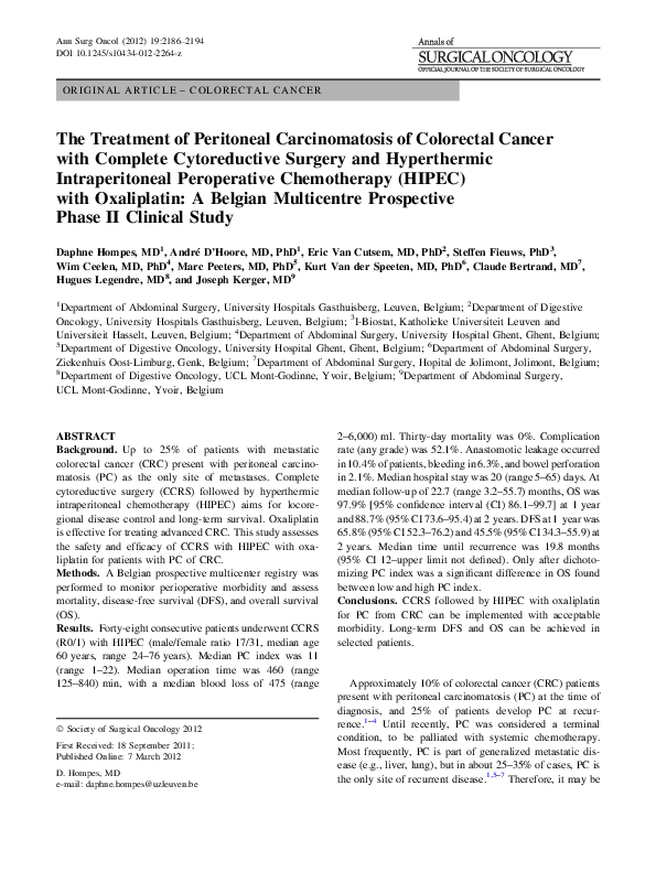Pdf The Treatment Of Peritoneal Carcinomatosis Of Colorectal Cancer With Complete Cytoreductive Surgery And Hyperthermic Intraperitoneal Peroperative Chemotherapy Hipec With Oxaliplatin A Belgian Multicentre Prospective Phase Ii Clinical Study