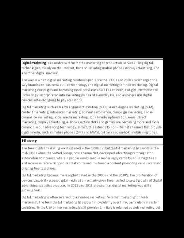 Pdf Digital Marketing Definition History Strategies Developments Advantages And Limitaions Ibrahim Rihan Mba Pddm Academia Edu