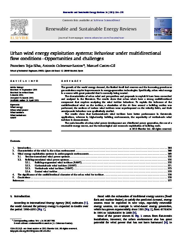 PDF) Urban wind energy exploitation systems: Behaviour under
