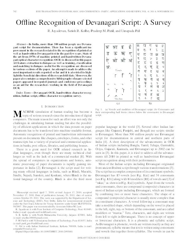 PDF) Offline Recognition of Devanagari Script: A Survey | Satish