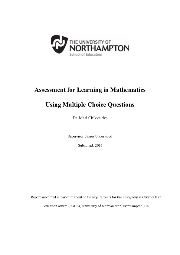 PDF) Assessment for Learning in Mathematics Using Multiple