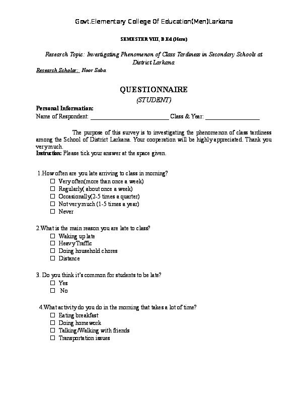DOC) Class Tardiness-Research Proposal docx | Noor Saba