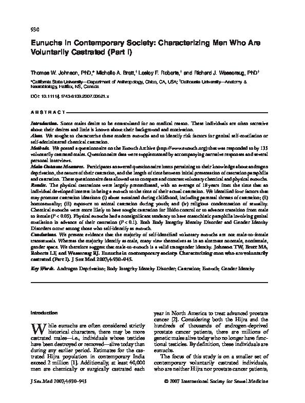 PDF) Eunuchs in Contemporary Society: Characterizing Men Who