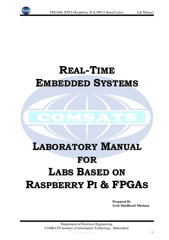 Magnificent Pdf Real Time Embedded Systems Laboratory Manual For Labs Based On Wiring Digital Resources Operpmognl