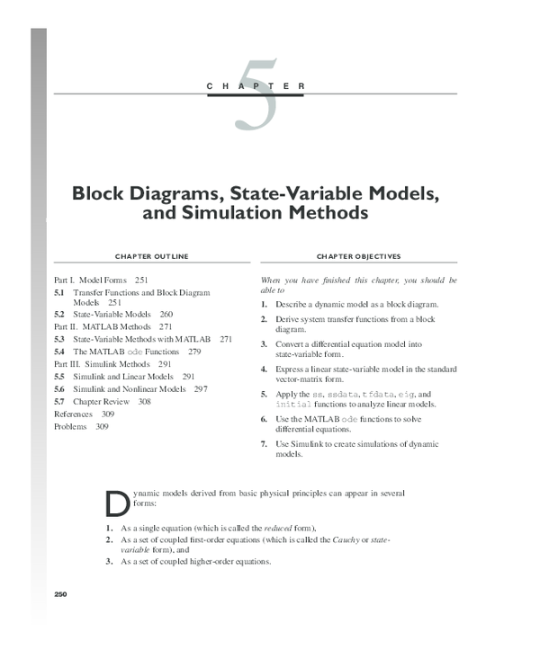 PDF) Block Diagrams, State-Variable Models, and Simulation