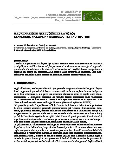 Pdf Illuminazione Nei Luoghi Di Lavoro Benessere Salute E Sicurezza Dei Lavoratori Francesco Leccese And Giacomo Salvadori Academia Edu