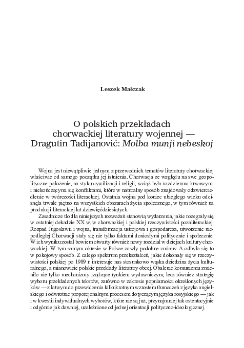 Pdf Tsl Issue 112019 O Polskich Przekładach Chorwackiej
