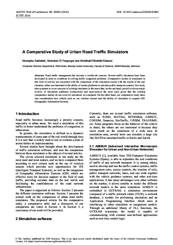 PDF) A Comparative Study of Urban Road Traffic Simulators