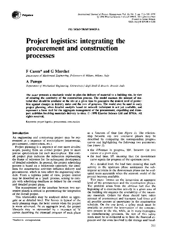 PDF) Project logistics: integrating the procurement and