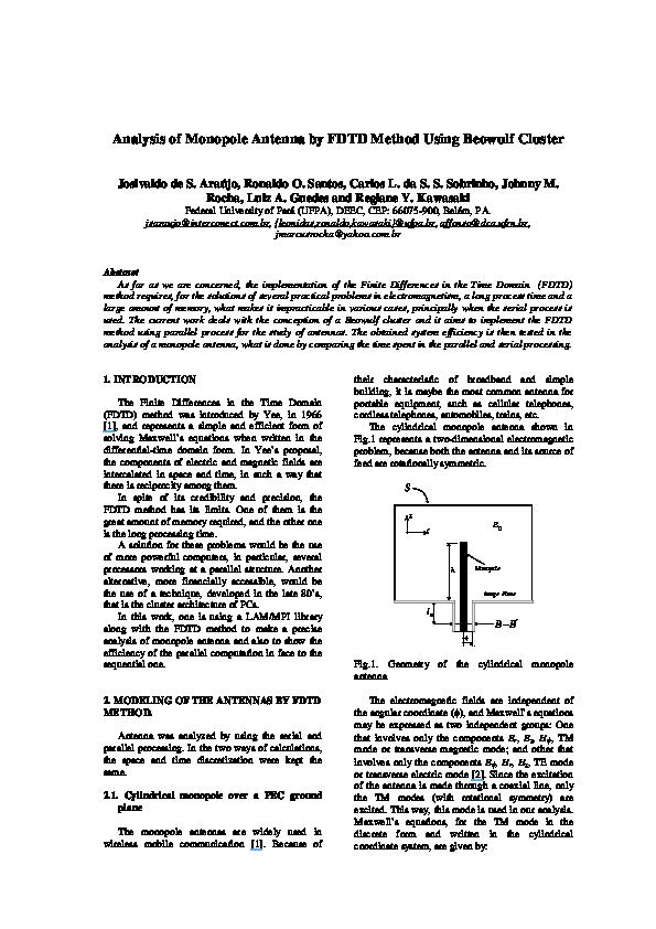 PDF) Analysis of monopole antenna by FDTD method using