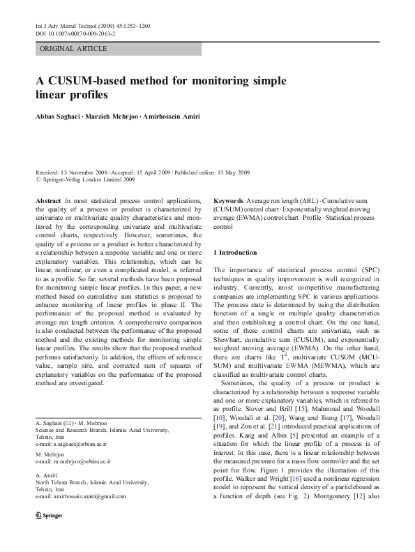 PDF) A CUSUM-based method for monitoring simple linear