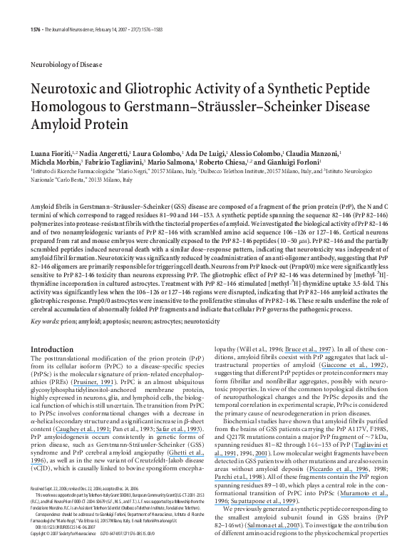 PDF) Neurotoxic and Gliotrophic Activity of a Synthetic