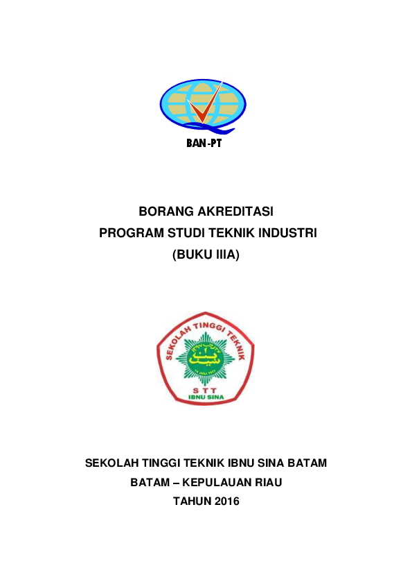 Pdf Borang Akreditasi Program Studi Teknik Industri Buku Iiia