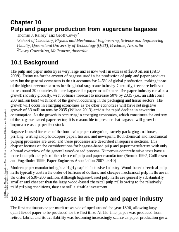 PDF) Pulp and paper production from sugarcane bagasse