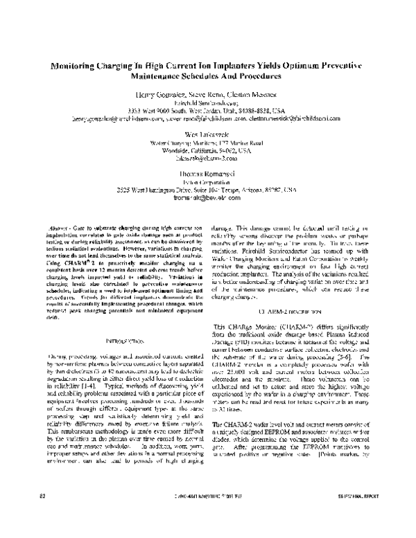 PDF) Monitoring charging in high current ion implanters yields